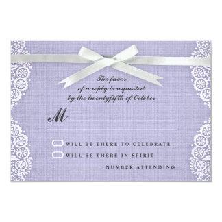 White lace, ribbon and burlap wedding RSVP cards 9 Cm X 13 Cm Invitation Card
