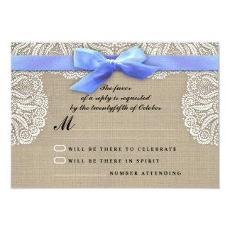 White lace ribbon and burlap wedding RSVP cards 9 Cm X 13 Cm Invitation Card