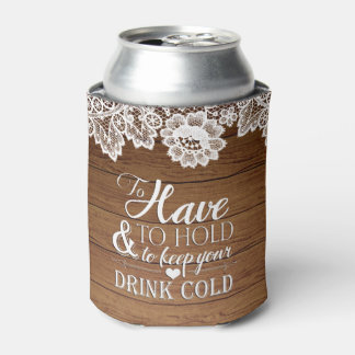 White Lace Rustic Barn Wood Monogram Wedding Drink Can Cooler