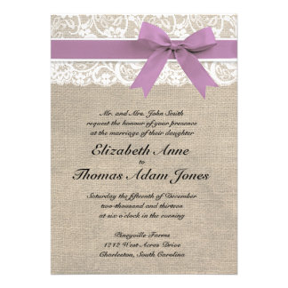 White Lace Rustic Burlap Wedding Invitation Purple