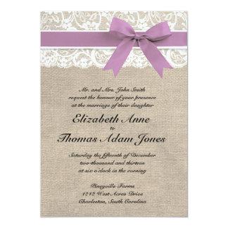 White Lace Rustic Burlap Wedding Invitation Purple