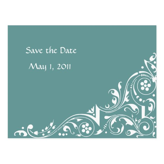 White Lace Save the Date Postcard
