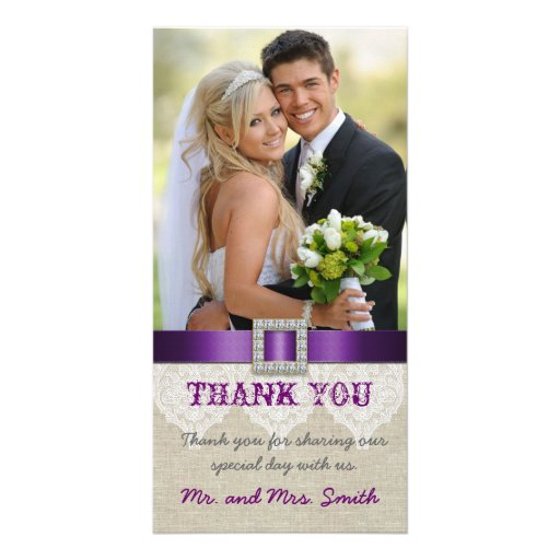 White Lace Vintage Wedding Thank You Photo Purple Photo Card