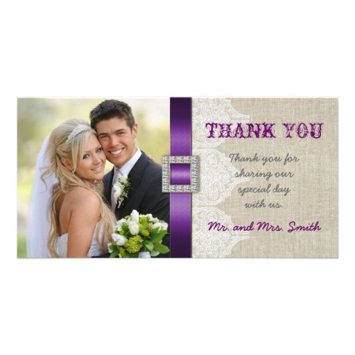White Lace Vintage Wedding Thank You Photo Purple Photo Card Template