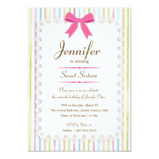 White Lace Watercolor Candy Stripes Sweet 16 5x7 Paper Invitation Card