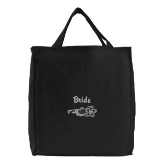 White Lace Wedding - Bride Tote Embroidered Tote Bag