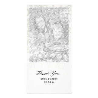 White Lace Wedding Thank You Photo Card