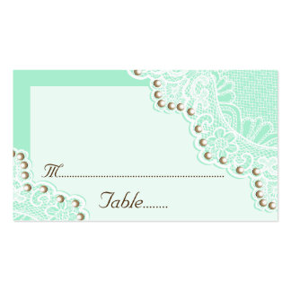 White lace with pearls mint wedding place card business card