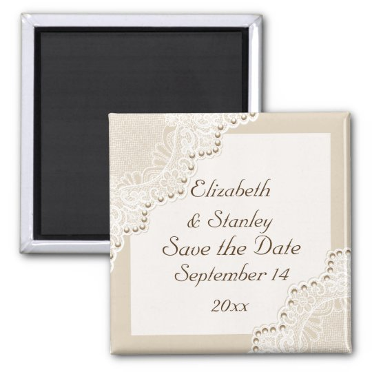 White lace with pearls wedding Save the Date