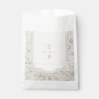 White lace wood rustic country wedding thank you favour bags