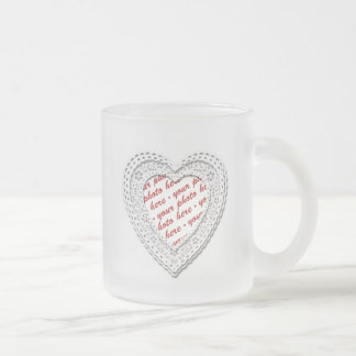 White Laced Heart Photo Frame Frosted Glass Mug