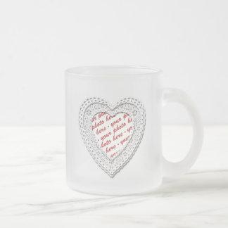 White Laced Heart Photo Frame Coffee Mug