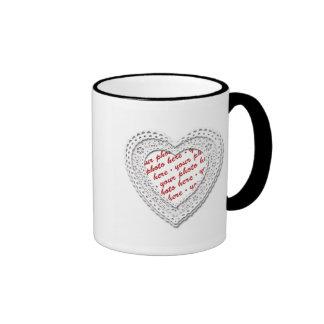 White Laced Heart Photo Frame Mugs