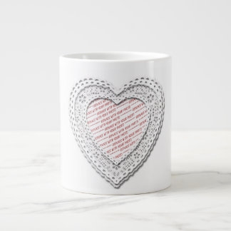 White Laced Heart Photo Frame Jumbo Mugs