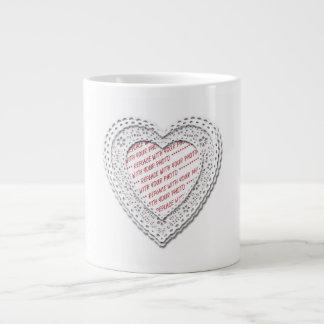 White Laced Heart Photo Frame Extra Large Mugs