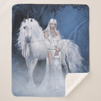 White Lady & Unicorn Medium Sherpa Fleece Blanket