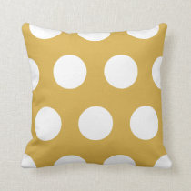 White Large Polka Dots Custom Colour Throw Cushion