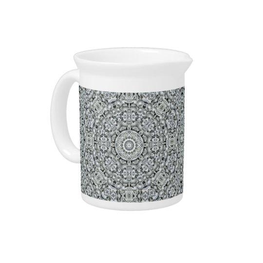 White Leaf Kaleidoscope   Porcelain Pitchers