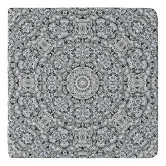 White Leaf Pattern   Custom Stone Trivets
