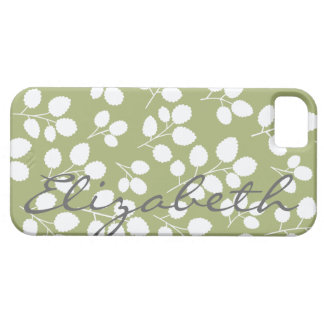 White Leaf Pattern on Moss | iPhone 5 Case