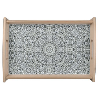 White Leaf Pattern   Serving Trays, 2 sizes Serving Tray