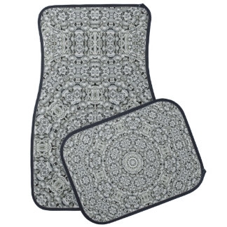 White Leaf Pattern   Vintage  Car Floor Mats