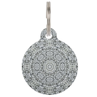 White Leaf Vintage Kaleidoscope Dog Cat Tags