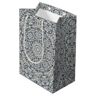 White Leaf   Vintage Kaleidoscope Medium Gift Bag