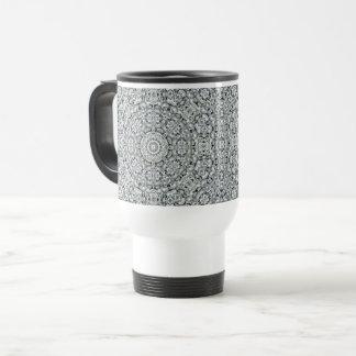 White Leaf Vintage Kaleidoscope  Travel Mug