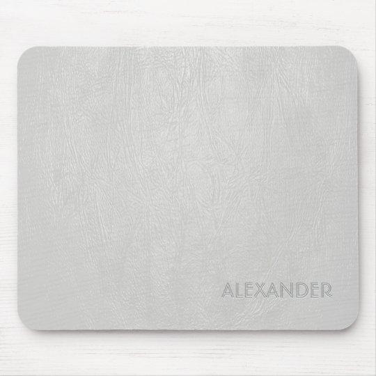 White Leather Pattern Texture- Custom Monogram/Tex Mouse Mat