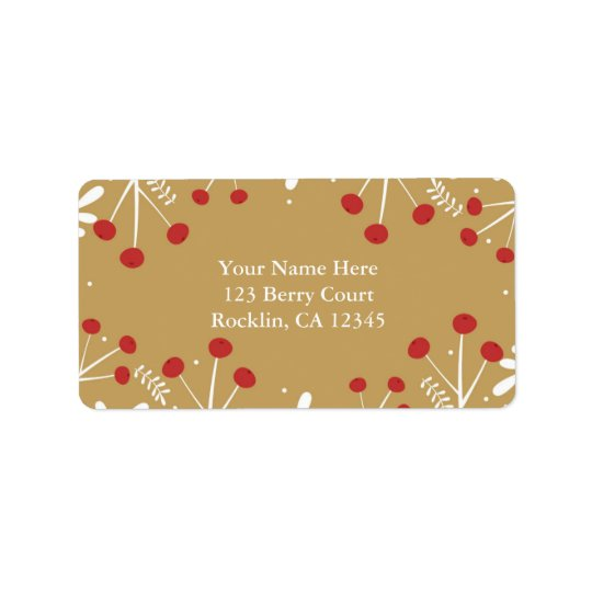 White Leaves & Berries Gold Holiday Invitation Address Label