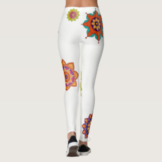 White Leggings Colorful Mandalas Yoga Gear