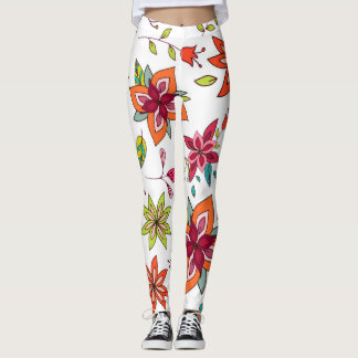 White Leggings with Boho Floral Designs