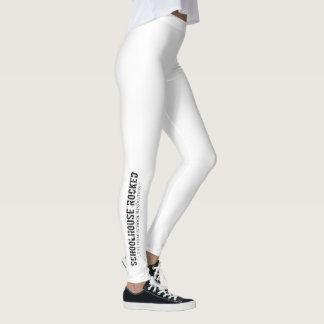 White Leggings with Logo on Lower Leg