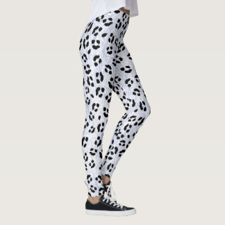 White Leopard Print Leggings