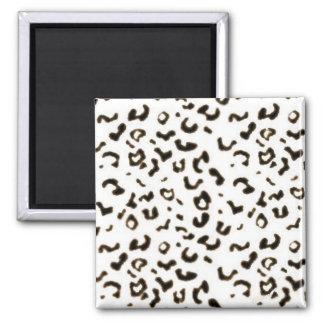 white leopard square magnet