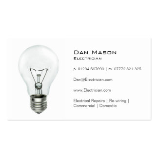White Light Bulb Electrician - Business Card