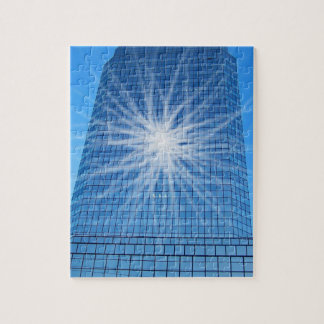 White Light Burst Blue Skyscraper Jigsaw Puzzle
