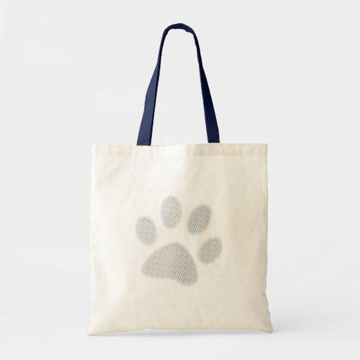 White/Light Grey Halftone Paw Print Canvas Bags