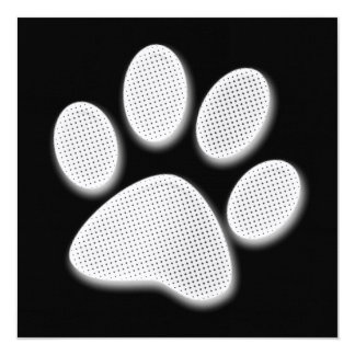 White/Light Grey Halftone Paw Print Card