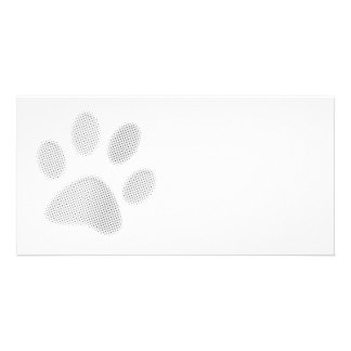 White/Light Grey Halftone Paw Print Photo Cards