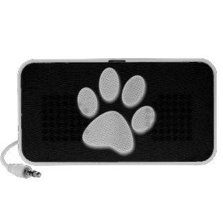 White/Light Grey Halftone Paw Print iPod Speaker