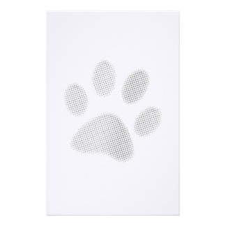 White/Light Grey Halftone Paw Print Stationery Paper