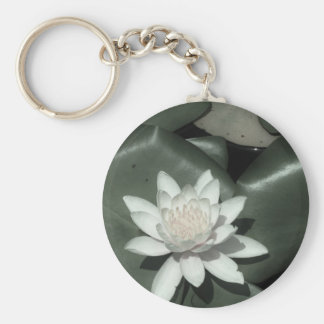 white light pink lotus water lily flower key chain