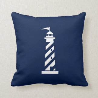 White Lighthouse on Navy Blue Nautical Pillow