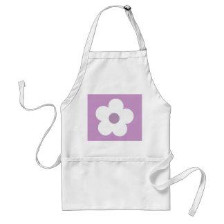 White & lilac cartoon flower apron