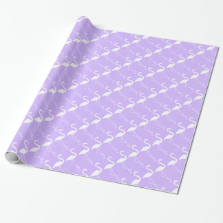 White & Lilac Flamingo Wrapping Paper