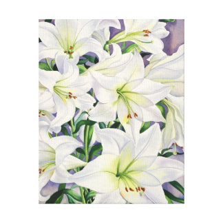 White Lilies 2008 Stretched Canvas Print