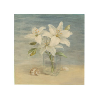 White Lilies and Shells Wood Print