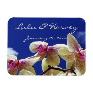 White Lilies and Sky Personal Wedding Rectangular Magnet